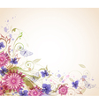 Abstract floral background with pink flowers vector image