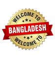 Bangladesh 3d gold badge with red ribbon vector image