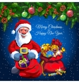 Santa with two bags of gifts and candys vector image
