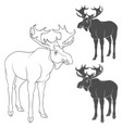 set of black and white with moose vector image