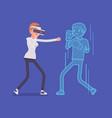 vr woman boxing vector image