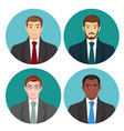 businessman avatar four pictures set on vector image