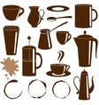 Coffee and tea items silhouettes set vector image