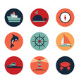 Marine icons in circles vector image