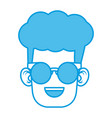 cute boy with glasses cartoon vector image