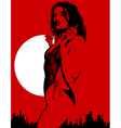 silhouette of a sexy woman on a red background vector image