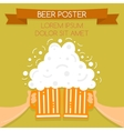 Two hands holding beer glasses beer glasses foam vector image