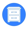 Bedside table icon in black style isolated on vector image