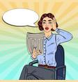 pop art shocked woman reading a newspaper vector image