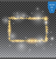 Golden frame with lights effects shining vector image
