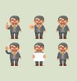 businessman different actions man mustache geek vector image vector image