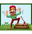 A happy lumberjack stepping on a log with axe vector image vector image