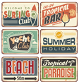 Summer holiday vintage sign boards collection vector image