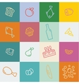 outline icons food and products in flat style vector image