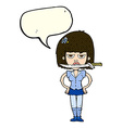 cartoon woman with knife between teeth with speech vector image