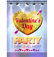 Love heart background Valentine party poster vector image