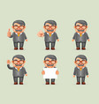 businessman different actions man mustache geek vector image
