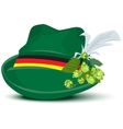 Green hat with a feather and hops vector image