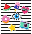 Pop art fashion chic patches pins and stickers vector image