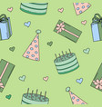 seamless pattern with pictures for a birthday part vector image