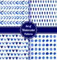 Set of four watercolor simple patterns vector image
