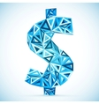 Blue abstract triangles dollar symbol vector image