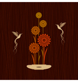 Card with birds and flowers vector image vector image