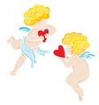 two angels with heart vector image vector image