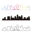 Saint Paul skyline linear style with rainbow vector image