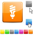 Fluorescent bulb glossy button vector image