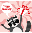 happy birthday raccoon vector image