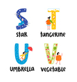 Alphabet letters s to v vector image