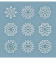 Christmas flat line snowflakes set vector image