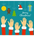 Hands of the people in Santa costumes are drawn to vector image
