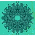 Mandala design in black on aqua green vector image
