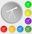 Telescope icon sign Symbol on eight flat buttons vector image