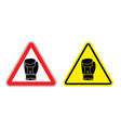 Warning sign attention Boxer Hazard yellow sign vector image