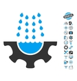 Water Shower Service Gear Icon With Copter Tools vector image