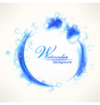 Watercolor background grunge blue frame with drops vector image