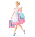 Smiling housewife walking with shopping bags vector image