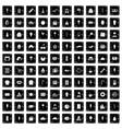 100 dessert icons set grunge style vector image