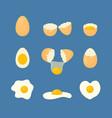 cartoon fried and fresh eggs set vector image