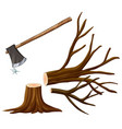 chopping wood with axe vector image