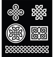 Celtic knots patterns on black background - vector image vector image
