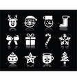 Christmas white icons with shadow set on black vector image vector image