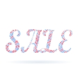 Word Sale in the form of snowflakes and stars vector image