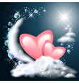 Moon and two hearts on the clouds vector image vector image