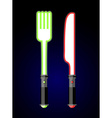 light cutlery Knife and fork in style of future vector image