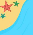 Cartoon starfishes on a beach vector image