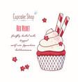 hand drawn red velvet cupcake vector image